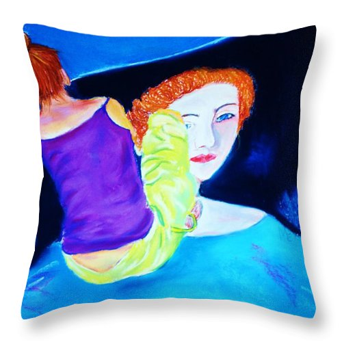 Painting Within A Painting Throw Pillow featuring the print Sidewalk Artist II by Melinda Etzold
