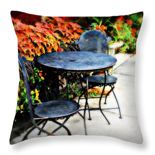 Cafe Throw Pillow featuring the photograph Sidewalk Cafe by Perry Webster