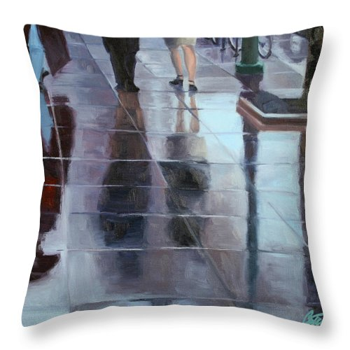 Cityscape Throw Pillow featuring the painting Sidewalk Reflections by Guenevere Schwien