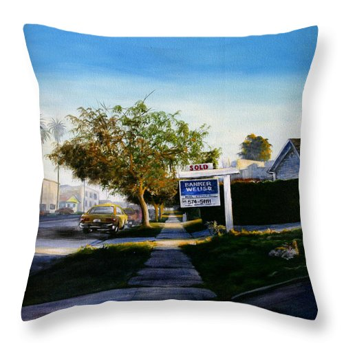 City Scapes Throw Pillow featuring the painting Sidewalk Sale by Duke Windsor