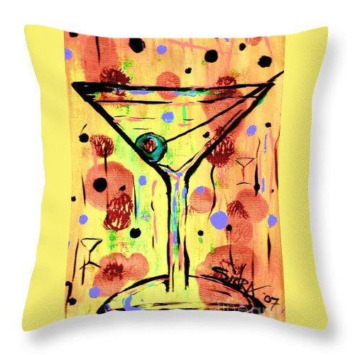Martini Throw Pillow featuring the painting Sidzart Pop Art Martini This Is Sooo Mine by Sidra Myers