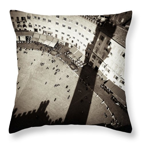 Siena Throw Pillow featuring the photograph Siena From Above by Dave Bowman