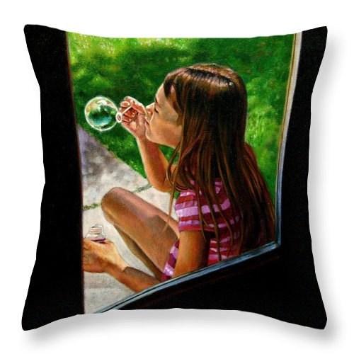 Girl Throw Pillow featuring the painting Sierra Blowing Bubbles by John Lautermilch