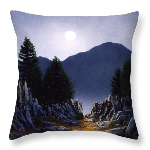 Mountains Throw Pillow featuring the painting Sierra Moonrise by Frank Wilson