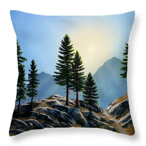 Landscape Throw Pillow featuring the painting Sierra Sentinals by Frank Wilson