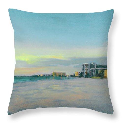 Siesta Key Throw Pillow featuring the painting Siesta Key Beach At Dusk by Shawn McLoughlin