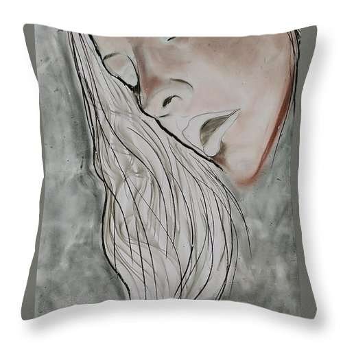 Beauty Throw Pillow featuring the drawing Sigh by J Bauer