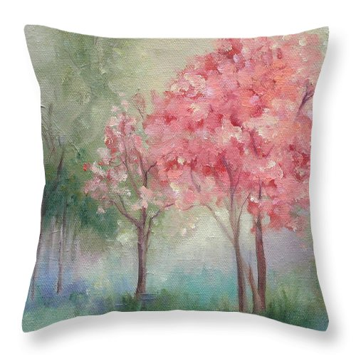 Spring Throw Pillow featuring the painting Sign Of Spring by Ginger Concepcion