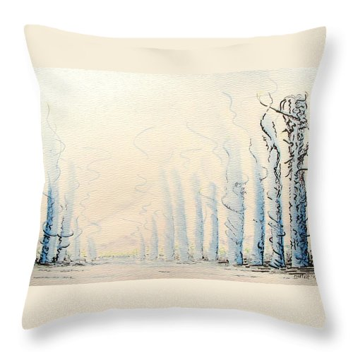 Watercolor Throw Pillow featuring the painting Signals by Dave Martsolf
