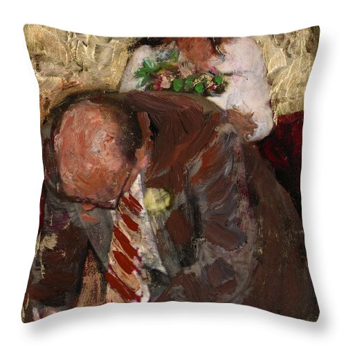 Figurative Throw Pillow featuring the painting Signing 1 by Angelina Marino