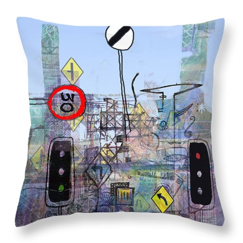 Urban Throw Pillow featuring the digital art Signs Of The Times by Andy Mercer