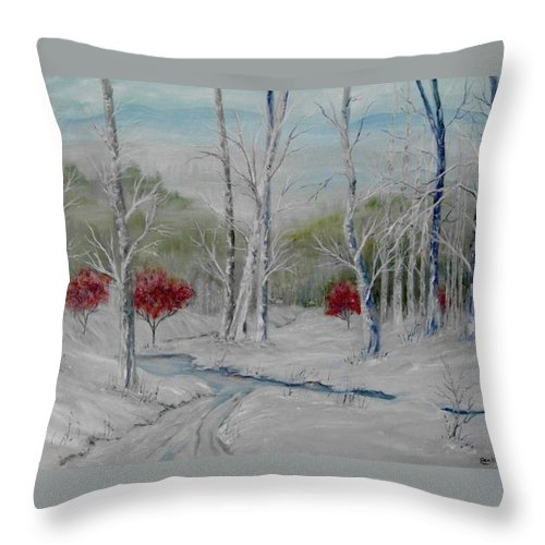 Snow; Winter; Birch Trees Throw Pillow featuring the painting Silence by Ben Kiger