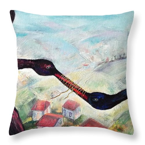 Impossibility Throw Pillow featuring the painting Silence by Elisheva Nesis