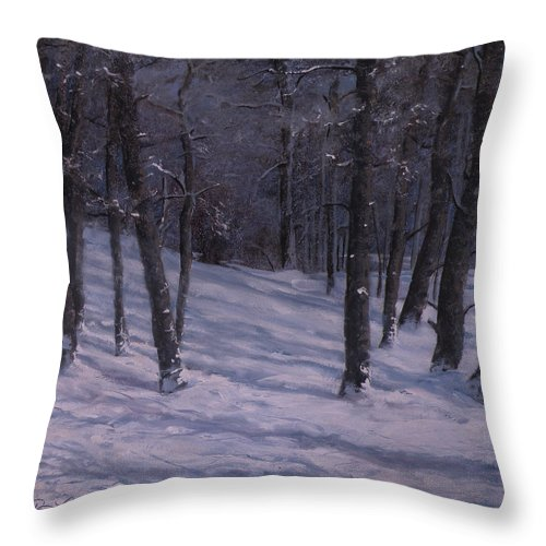 Western Art Throw Pillow featuring the painting Silence by Mia DeLode