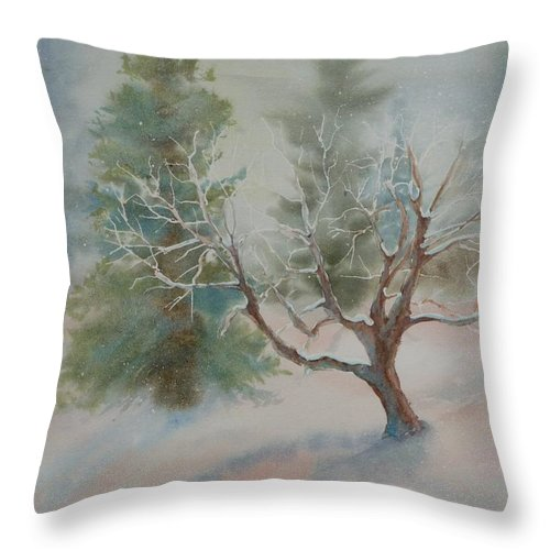 Snow Throw Pillow featuring the painting Silence by Ruth Kamenev