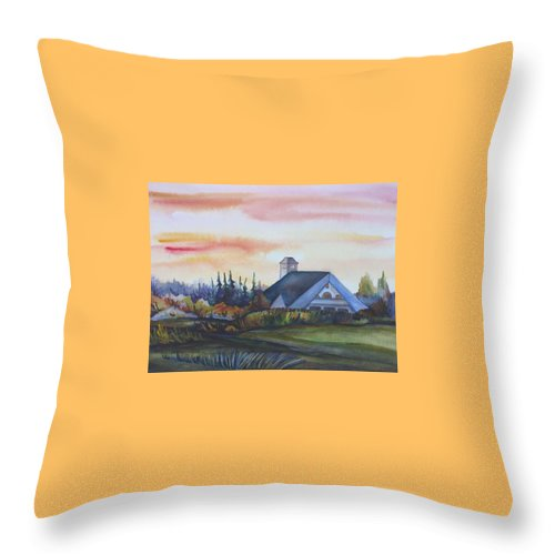 Watercolor Throw Pillow featuring the painting Silence Upon Midnapore by Anna Duyunova