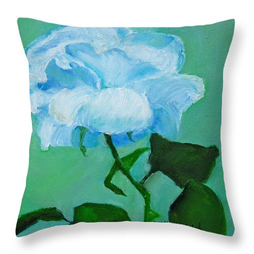White Rose Throw Pillow featuring the painting Silent Beauty by Marita McVeigh