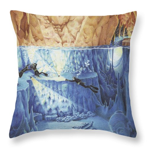 Diver Throw Pillow featuring the drawing Silent Echoes by Amy S Turner