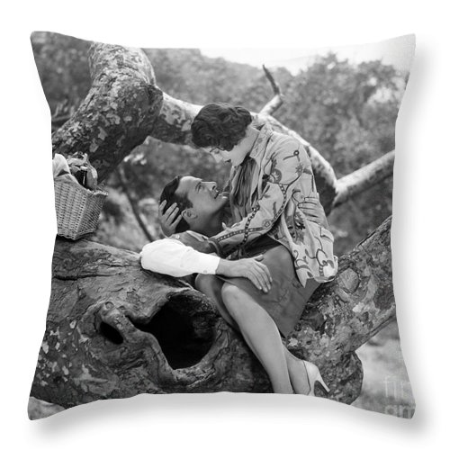 -picnic- Throw Pillow featuring the photograph Silent Film Still: Picnic by Granger