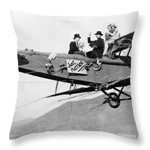 -stunts- Throw Pillow featuring the photograph Silent Film Still: Stunts by Granger