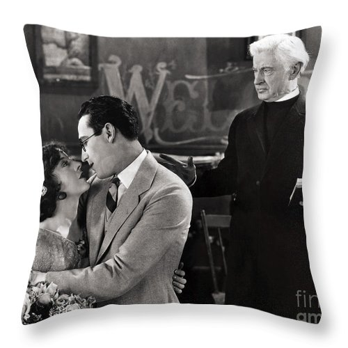 -nec09- Throw Pillow featuring the photograph Silent Film Still: Wedding by Granger