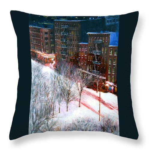 City Scape Throw Pillow featuring the painting Silent Night Nyc by Leonardo Ruggieri
