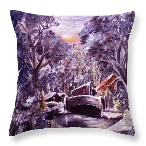 Landscape Throw Pillow featuring the painting Silent Night by Ruth Palmer