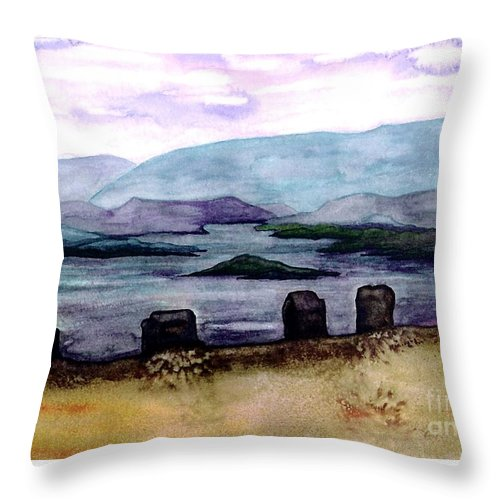 Original Painting Throw Pillow featuring the painting Silent Sentinels by Patricia Griffin Brett