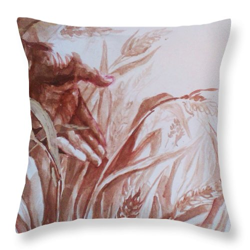 Throw Pillow featuring the painting Silent Steps by Gergana Bojikova