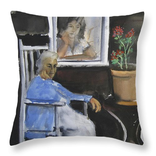 People Painting Throw Pillow featuring the painting Silent Thoughts by Leonardo Ruggieri