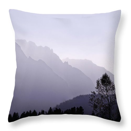 Mountain Silhouette Throw Pillow featuring the photograph Silhouette Austria Europe by Sabine Jacobs