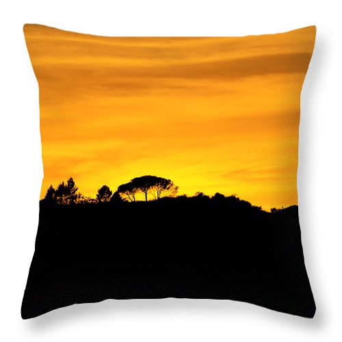 Silhouette Throw Pillow featuring the photograph Silhouette Di Un Panorama Al Tramonto by Orazio Puccio