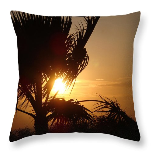 Sunset Throw Pillow featuring the digital art Silhouette Sunset by Sarah Vernon