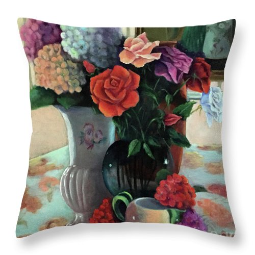 Still Life Throw Pillow featuring the painting Silk Flowers by Marlene Book