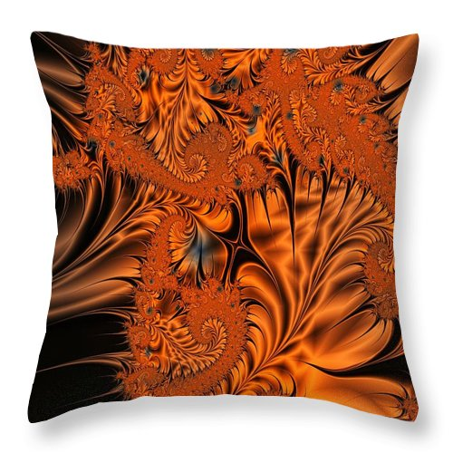 Silk Throw Pillow featuring the digital art Silk in Orange by Ron Bissett