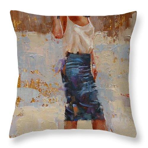 Laura Zanghetti Throw Pillow featuring the painting Silk by Laura Lee Zanghetti