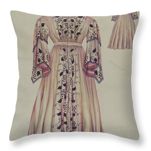 Throw Pillow featuring the drawing Silk Taffeta Costume by Sarah F. Williams