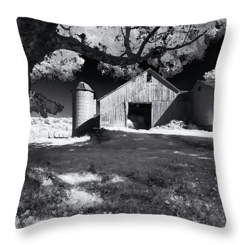 Shelburne Falls Massachusetts Throw Pillow featuring the photograph Silo In Black And White by Tom Singleton