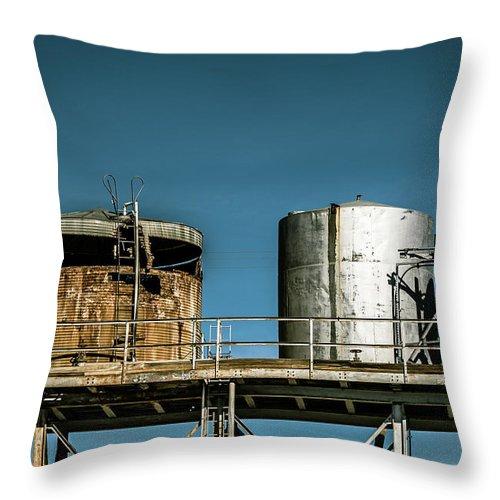 Amboy Throw Pillow featuring the digital art Silos On A Shelf by Stevie Benintende