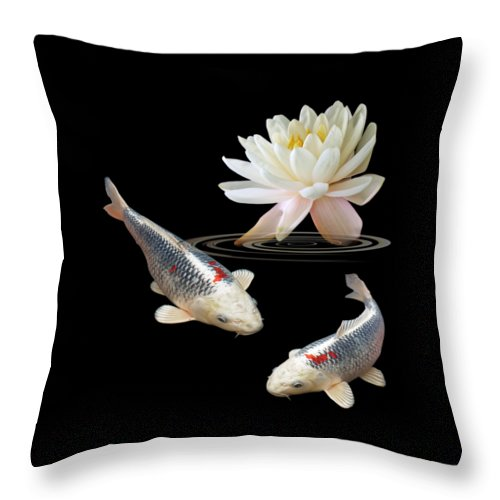 Fish Throw Pillow featuring the photograph Silver And Red Koi With Water Lily by Gill Billington