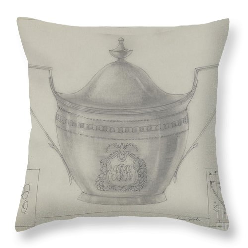 Throw Pillow featuring the drawing Silver Bowl by Louis Gersh