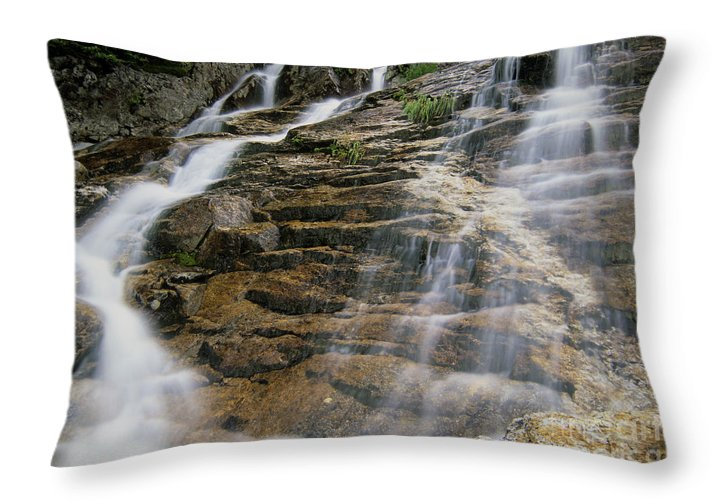 Tourism Throw Pillow featuring the photograph Silver Cascades - Crawford Notch New Hampshire by Erin Paul Donovan