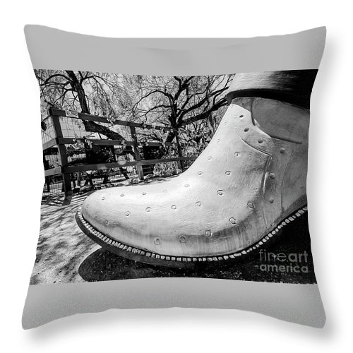 Cowboy Boot Throw Pillow featuring the photograph Silver Cowboy Boot by Elisabeth Lucas