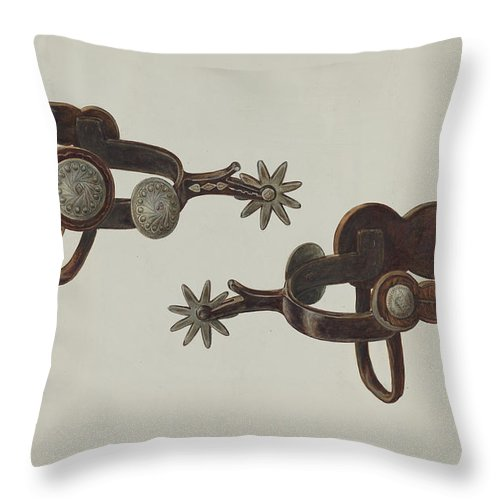 Throw Pillow featuring the drawing Silver Dollar Spurs by Cecil Smith