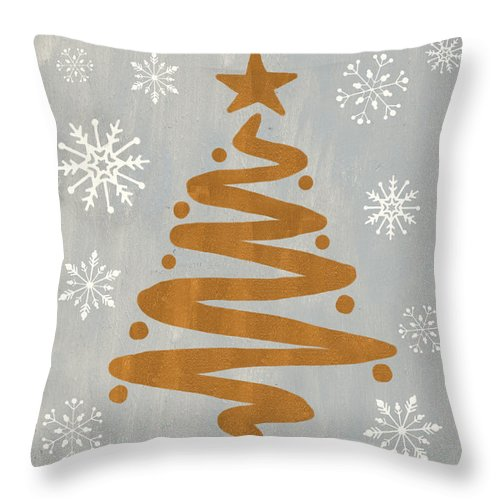 Presents Throw Pillow featuring the painting Silver Gold Tree by Debbie DeWitt