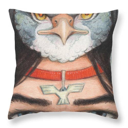 Atc Throw Pillow featuring the drawing Silver Hawk Warrior by Amy S Turner