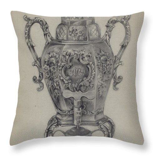 Throw Pillow featuring the drawing Silver Hot Water Urn by Nicholas Zupa
