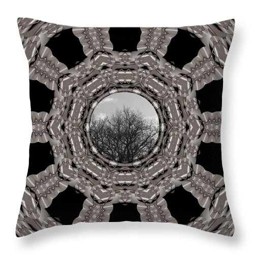 Tree Throw Pillow featuring the mixed media Silver Idyl by Pepita Selles