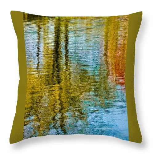 Silver Throw Pillow featuring the photograph Silver Lake Autum Tree Reflections by Michael Bessler