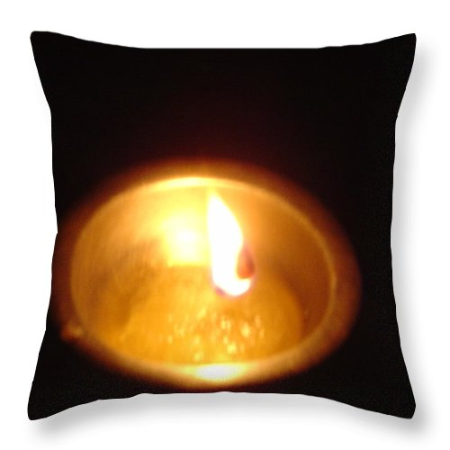 Indian Throw Pillow featuring the photograph Silver Lamp by Usha Shantharam